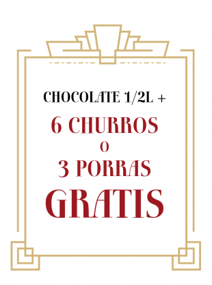 Chocolate 2 litros + 24 churros o 12 porras GRATIS
